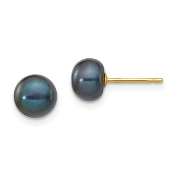 14k 6-7mm Black Button FW Cultured Pearl Stud Post Earrings