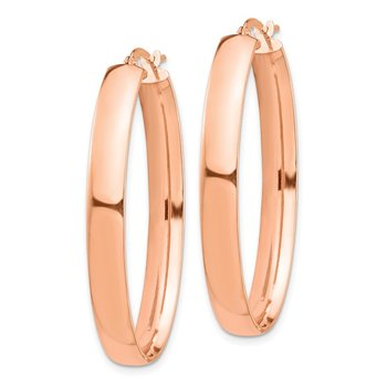 14k Rose Gold High Polished 5mm Oval Hoop Earrings