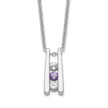 Sterling Silver Survivor Clear & Purple Swarovski Topaz Grateful Necklace