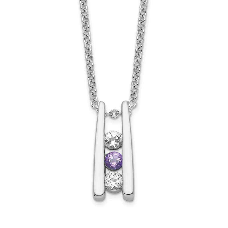 Quality Gold Sterling Silver Survivor Clear & Purple Swarovski Topaz Grateful Necklace