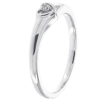 10k White Gold Diamond Accent Heart Promise Ring