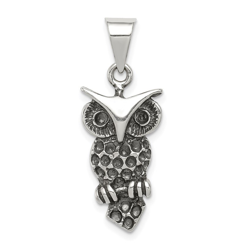 Quality Gold Sterling Silver Antiqued Owl Charm
