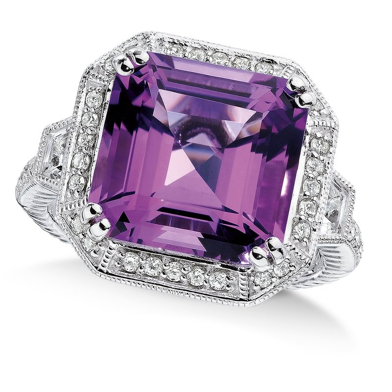 Colore Sg Sterling silver , purple amethyst and quartz, diamond ring