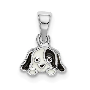 Sterling Silver Rhodium-plated Childs Enameled Puppy Pendant