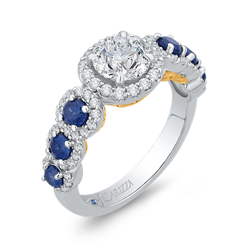 18K Two-Tone Gold Round Diamond Engagement Ring with Sapphire (Semi-Mount)