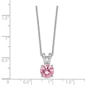 Cheryl M Sterling Silver Rhodium-plated Pink & White CZ 18in Necklace