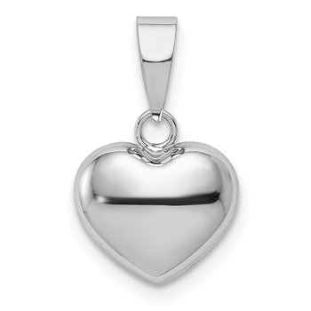 14k White Gold 3D Puffed Heart Pendant