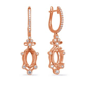 Rose Gold Diamond Earring 8x4mm