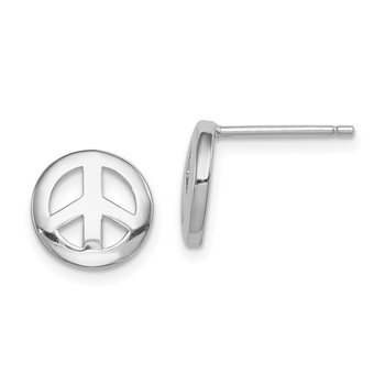 Sterling Silver Rhodium-plated Polished Peace Sign Post Earrings