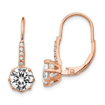 Cheryl M Sterling Silver CZ Rose Gold-Plated Leverback Earrings