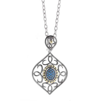 Sterling Silver and 14K Yellow Gold Sapphire Pendantss