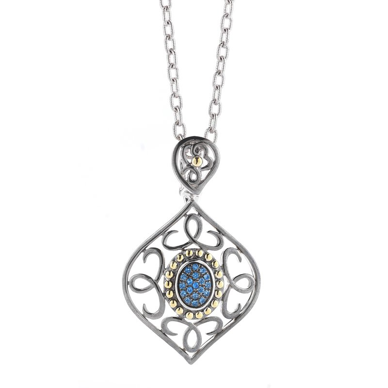 Shula NY Sterling Silver and 14K Yellow Gold Sapphire Pendantss