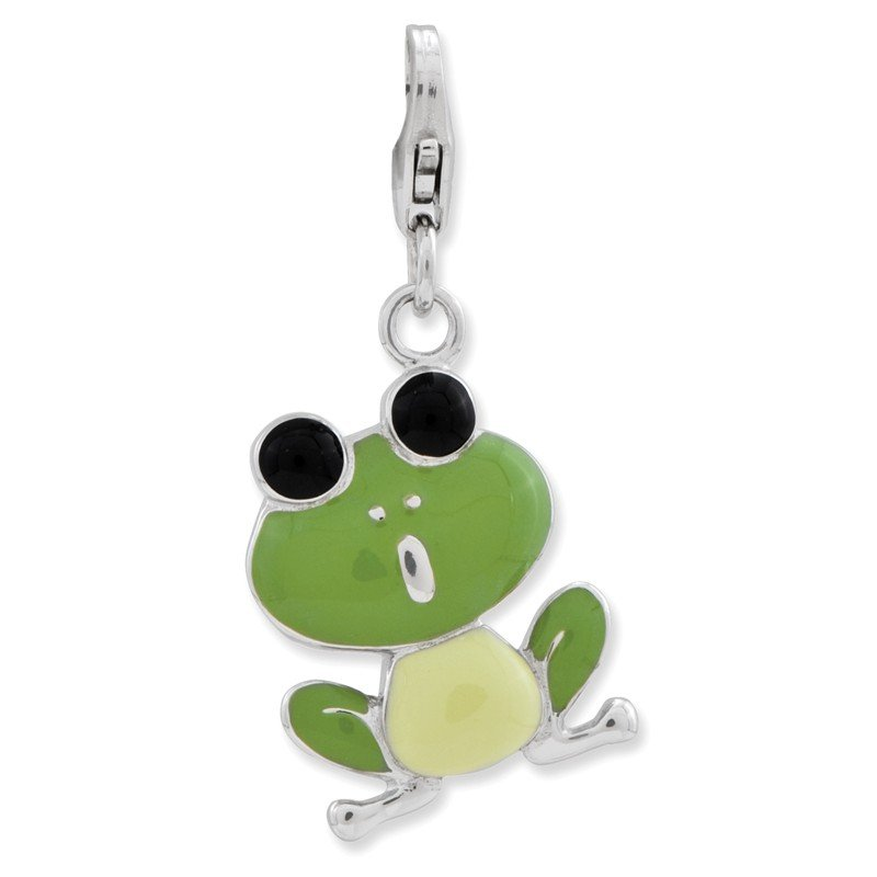 Quality Gold Sterling Silver Amore La Vita Rhodium-pl Polished Enameled Frog Charm