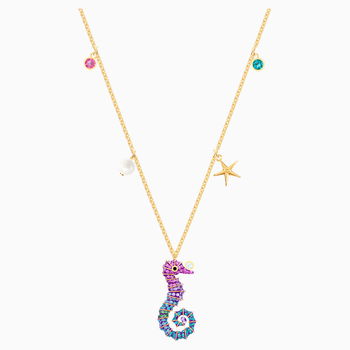 Ocean Seahorse Pendant, Multi-colored, Gold-tone plated