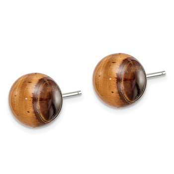 Sterling Silver Button Tiger Eye Post Earrings