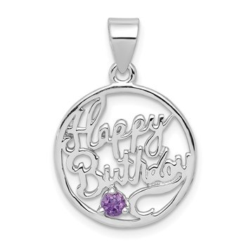 Sterling Silver Rhodium-plated Amethyst Happy Birthday Pendant