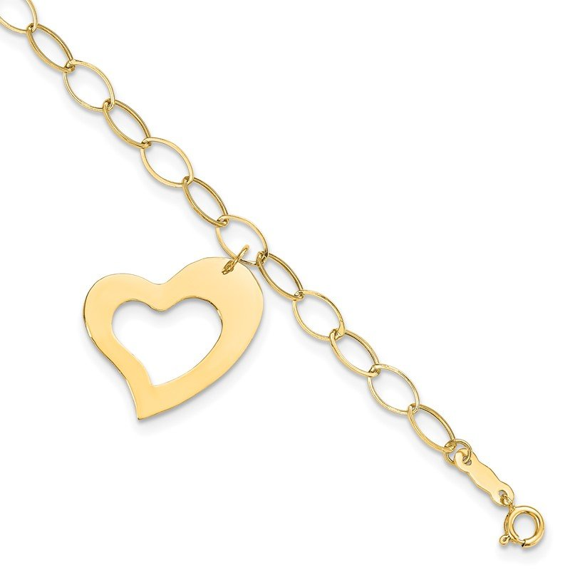 Quality Gold 14k Yellow Gold Dangle Heart Bracelet