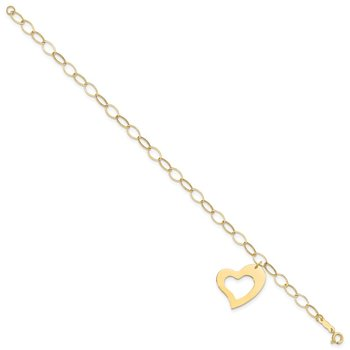 14k Yellow Gold Dangle Heart Bracelet