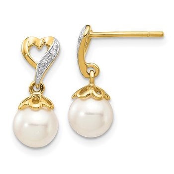 14k 6-7mm Round FWC Pearl .01ct Heart Diamond Dangle Earrings
