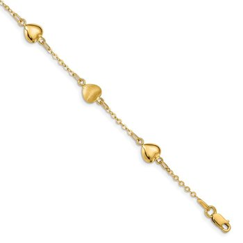 14K Brushed & Polished Hearts Bracelet