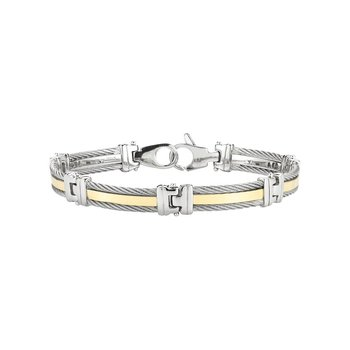 Men's Grey Cable Bracelet with Yellow Gold Band and Stainless Steel Links