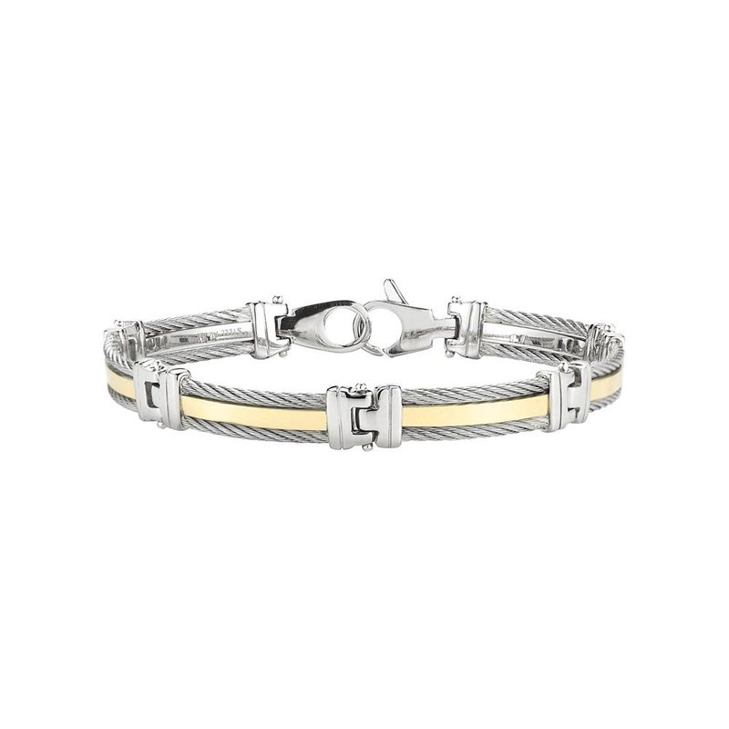 ALOR Catalog Men's Grey Cable Bracelet with Yellow Gold Band and Stainless Steel Links