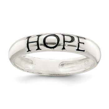 Sterling Silver Antiqued & Polished Hope Ring