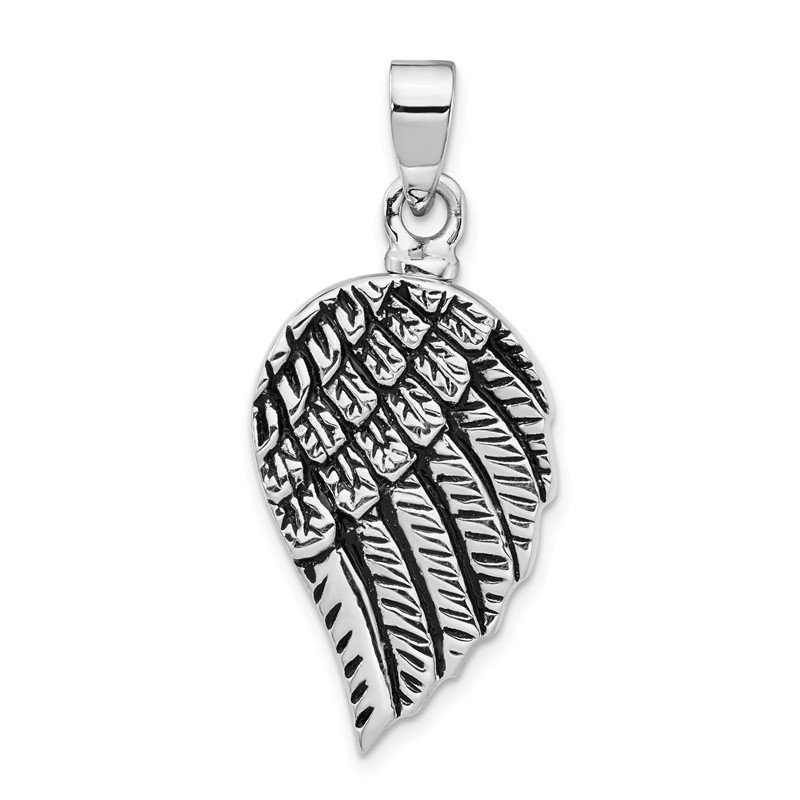 Quality Gold Sterling Silver Rhodium-plated Enameled Angel Wing Ash HolderPendant
