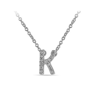"10K WG and diamond block letters alphabet K ""chain-attached"" pendant in prong setting"