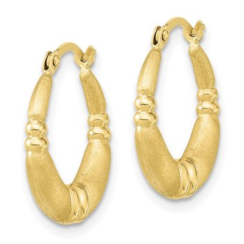 10k Polished & Satin Hoop Earrings