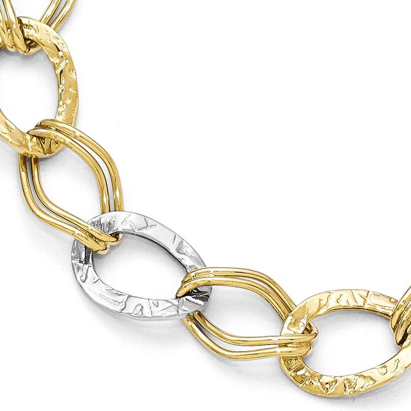 Leslie's Leslie's 10K Two-tone Polished and Textured Link Bracelet