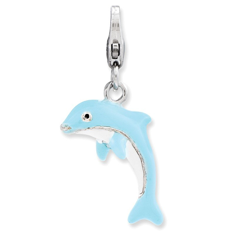 Arizona Diamond Center Collection Sterling Silver 3-D Enameled Dolphin w/Lobster Clasp Charm