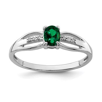 Sterling Silver Rhod-plated Diamond Created Emerald Ring