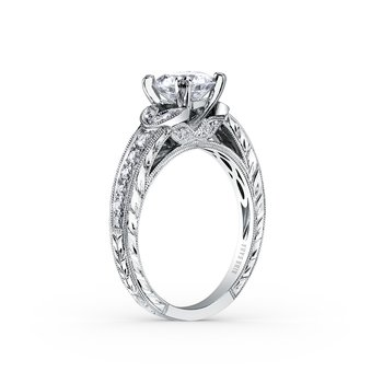 Engraved Leaf Floral Diamond Engagement Ring