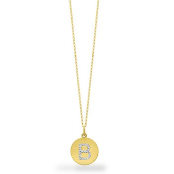 "Diamond Disc Initial ""B"" Necklace in 14k Yellow Gold with 19 Diamonds weighing .10ct tw."