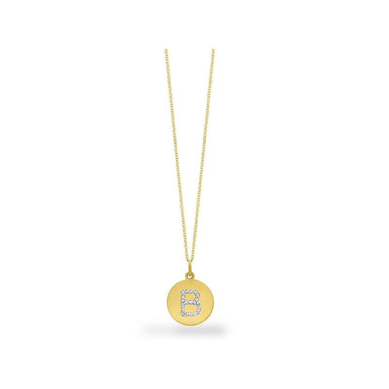 "MAZZARESE Fashion Diamond Disc Initial ""B"" Necklace in 14k Yellow Gold with 19 Diamonds weighing .10ct tw."