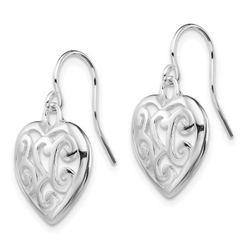 Sterling Silver Rhodium Plated Shepherd Hook Earrings