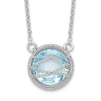 Sterling Silver Rhodium-plated Blue Topaz w/1.5in Ext 18in Necklace