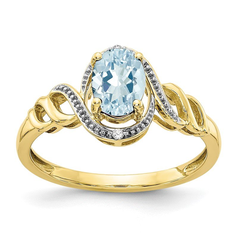 Quality Gold 10K Aquamarine and Diamond Ring