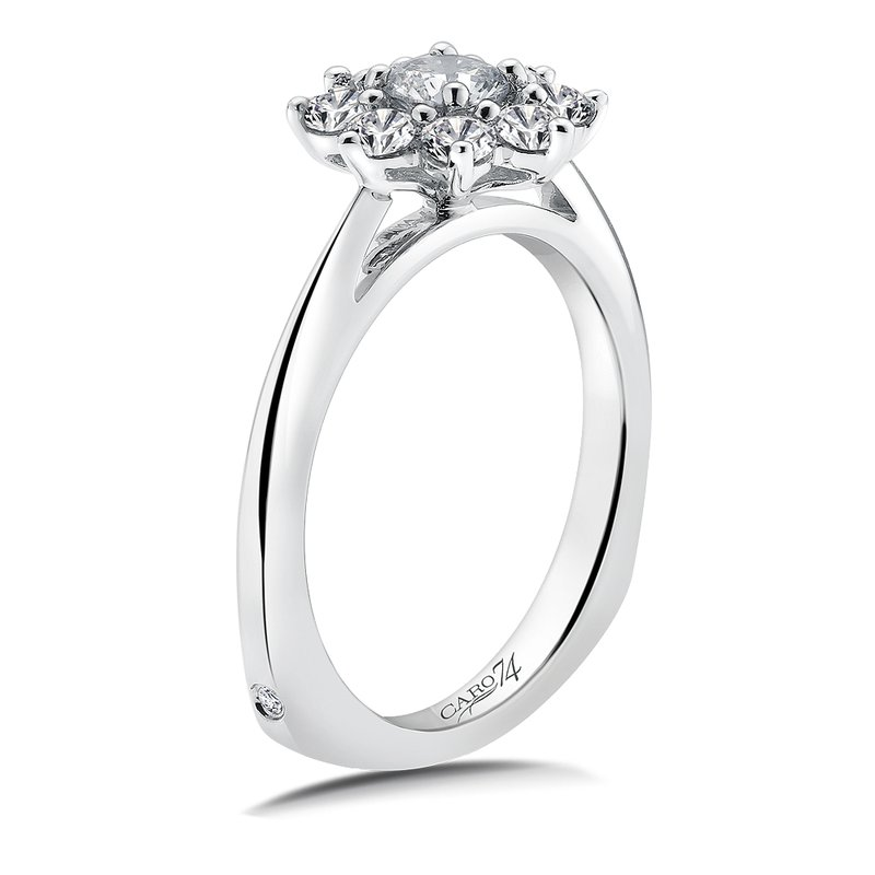Caro74 Halo Engagement Ring Mounting in 14K White Gold (.82 ct. tw.)