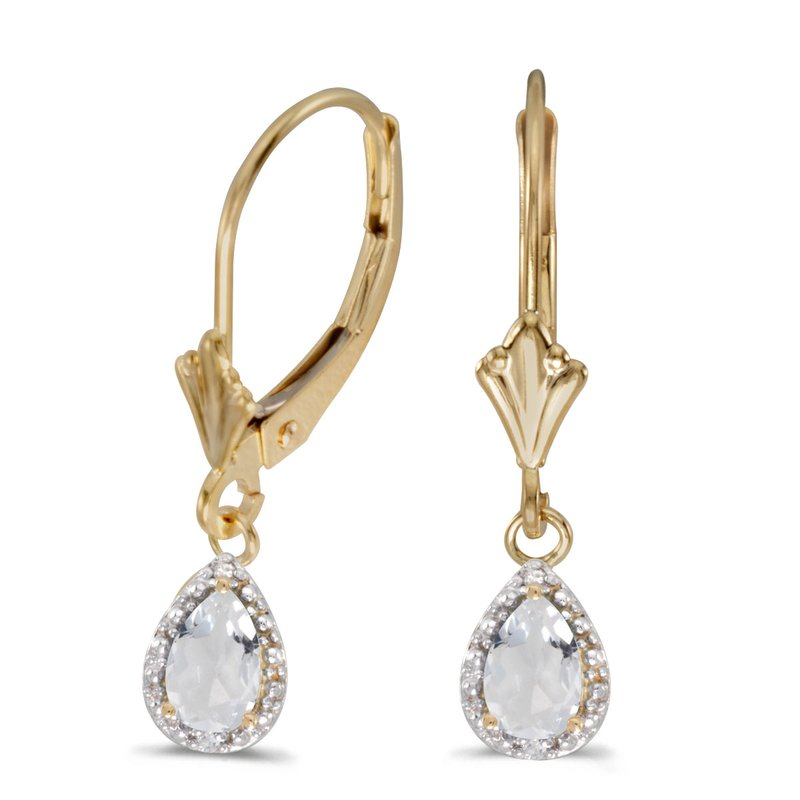 Color Merchants 10k Yellow Gold Pear White Topaz And Diamond Leverback Earrings