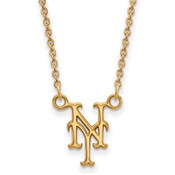 Gold-Plated Sterling Silver New York Mets MLB Necklace