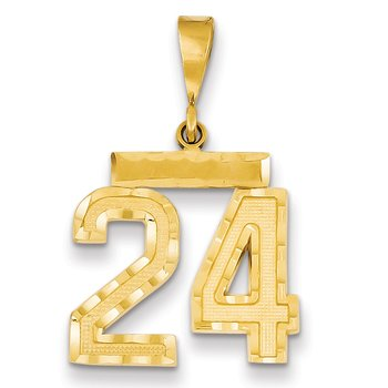 14k Medium Diamond-cut Number 24 Charm
