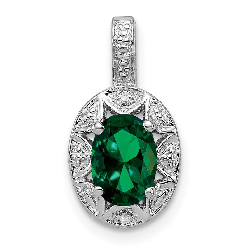 Fine Jewelry by JBD Sterling Silver Rhodium-plated Diam. & Created Emerald Pendant