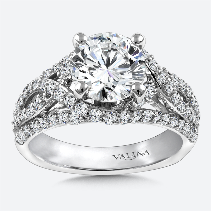 Valina Diamond Engagement Ring Mounting in 14K White Gold (.89 ct. tw.)
