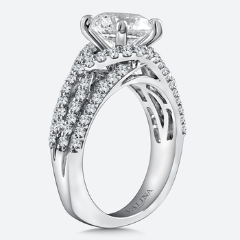 Diamond Engagement Ring Mounting in 14K White Gold (.89 ct. tw.)