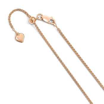 Leslie's Sterling Silver Rose Gold-plated Adjustable 1.1mm D/C Spiga Chain