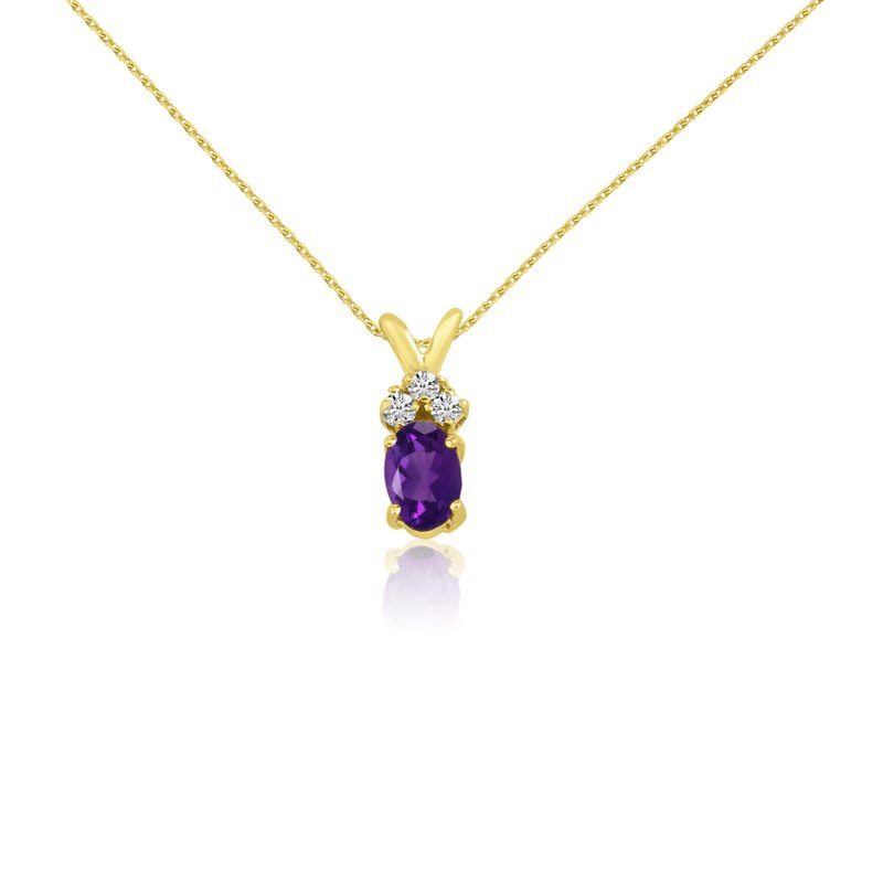 Color Merchants 14K Yellow Gold Oval Amethyst Pendant with Diamonds