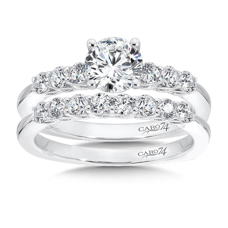 Caro74 Engagement Ring With Side Stones in 14K White Gold (3/4ct. tw.)