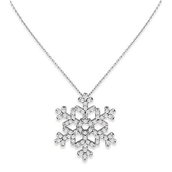 Diamond Snowflake Necklace in 14k White Gold with 66 Diamonds weighing .67ct tw.